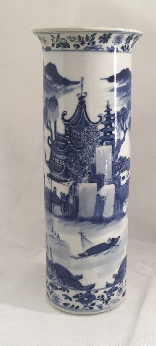 grand vase porcelaine de chine bleu blanc kangxi mark chinese porcelain quing eur 75 00. Black Bedroom Furniture Sets. Home Design Ideas