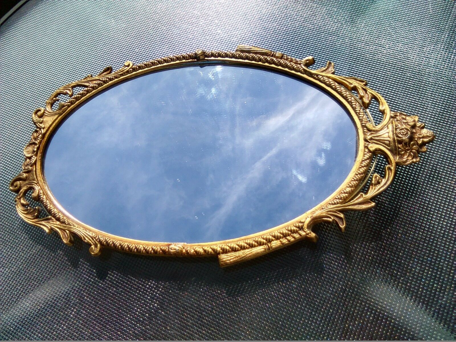 Gold Metal Wall Mirror: ORNATE OVAL WALL Mirror French Style Gold Gilt Metal Frame