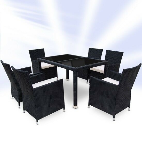 Rattan garden furniture set dining table and 6 chairs for Table and 6 chairs uk