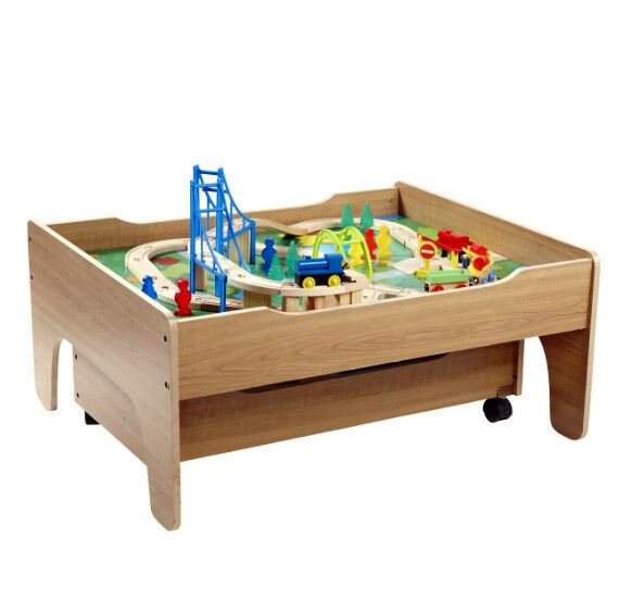New 2 scenes wooden train table 100 pieces train track set for 100 piece mountain train set and wooden activity table