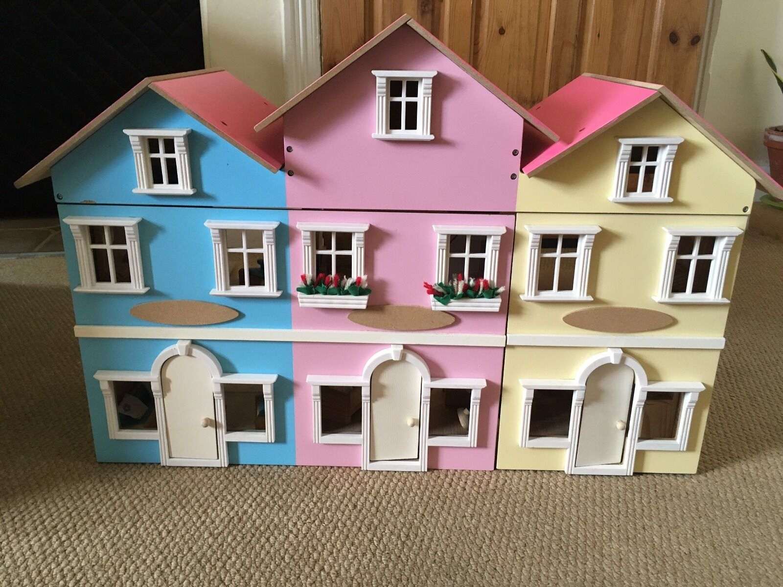 Wooden Dolls House With Furniture Picclick Uk
