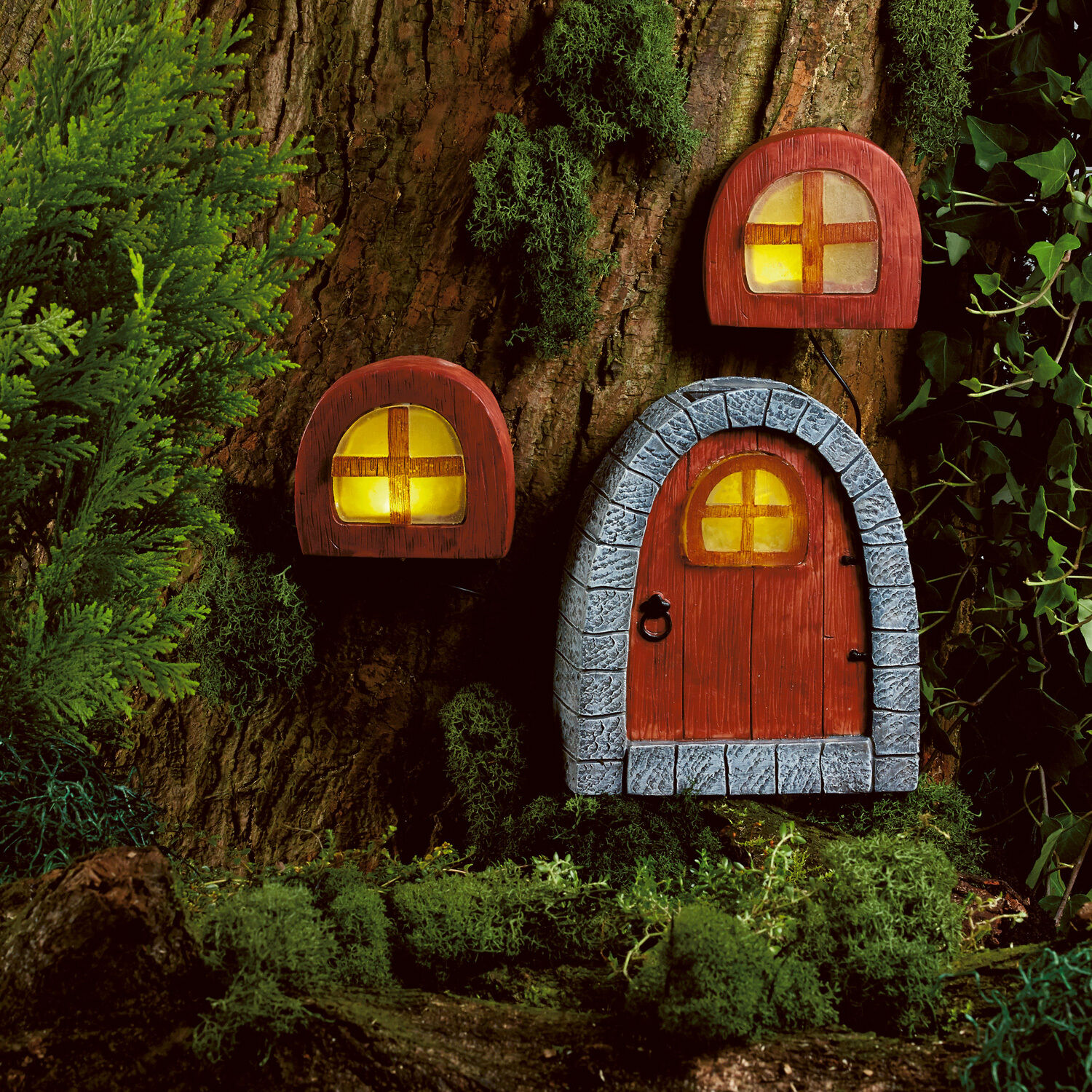 Solar powered fairy door windows led garden light for Outside house ornaments