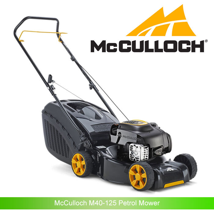 mcculloch m40 125 petrol mower rotary lawnmower 40cm 16 steel deck picclick uk. Black Bedroom Furniture Sets. Home Design Ideas