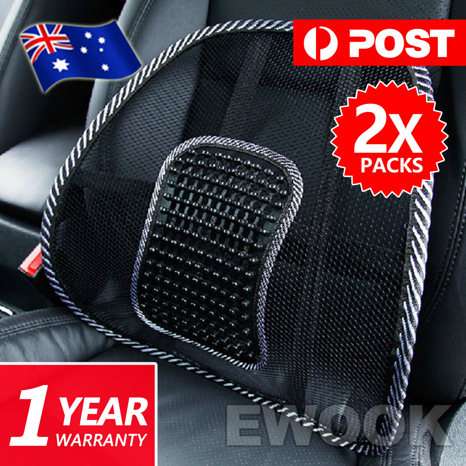 2x mesh lumbar back support for office home car seat chair truck pillow cushion aud. Black Bedroom Furniture Sets. Home Design Ideas