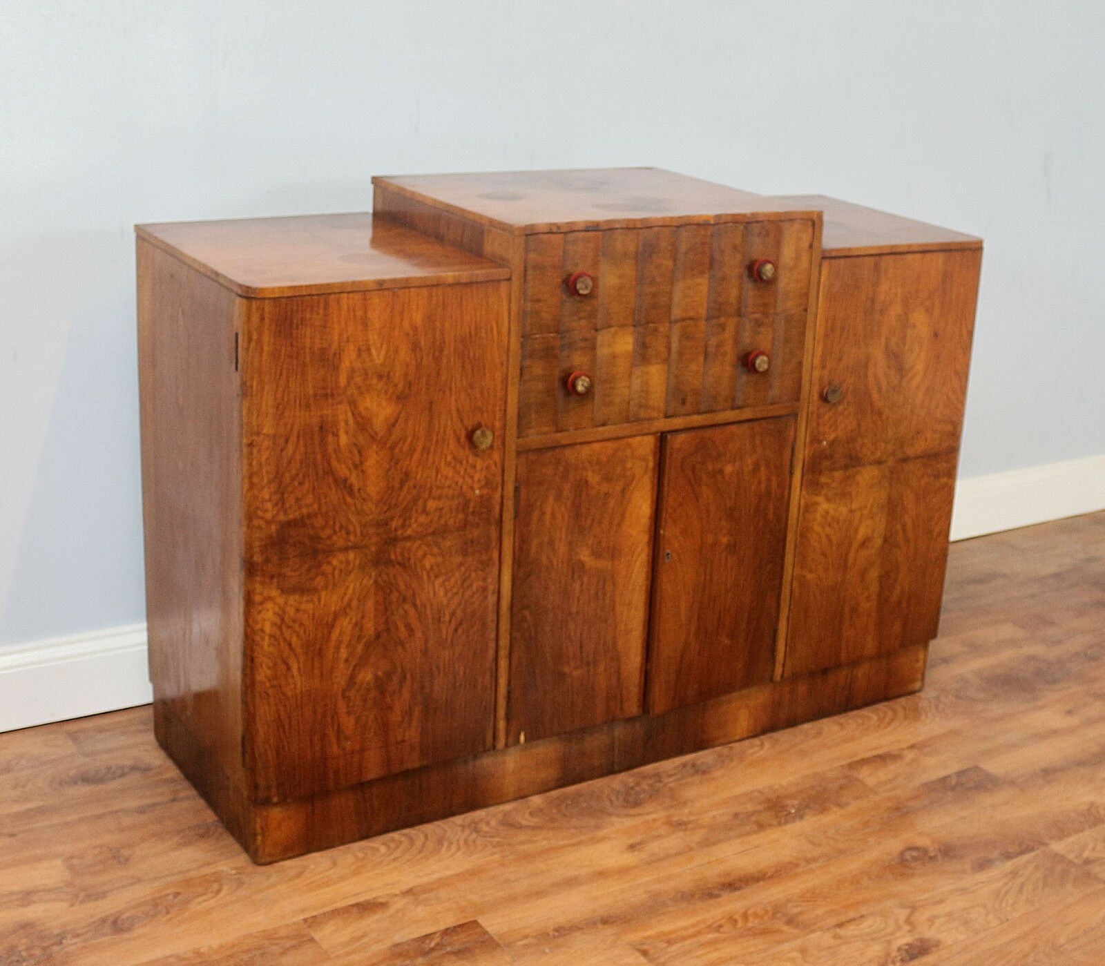 art deco walnut sideboard vintage storage lounge dining room kitchen cabinet. Black Bedroom Furniture Sets. Home Design Ideas