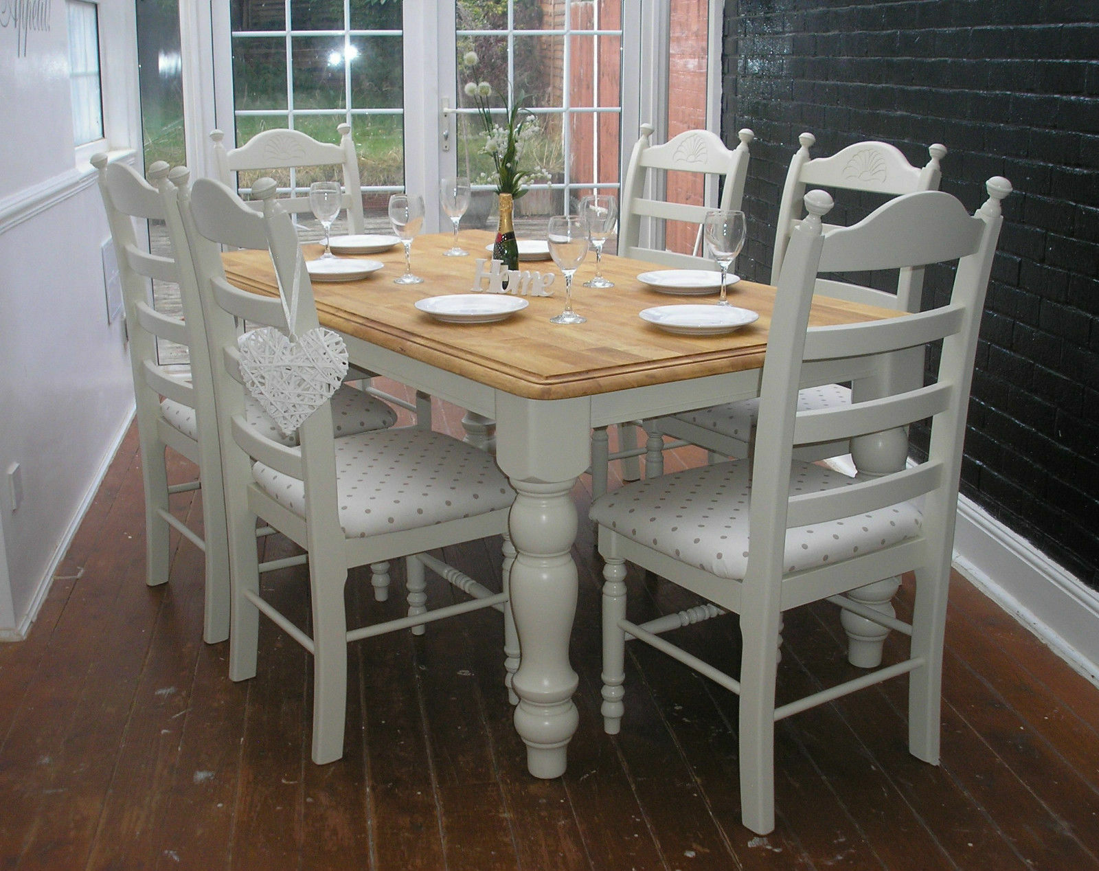 shabby chic 6ft dining table and 6 chairs farrow ball and clarke clarke. Black Bedroom Furniture Sets. Home Design Ideas