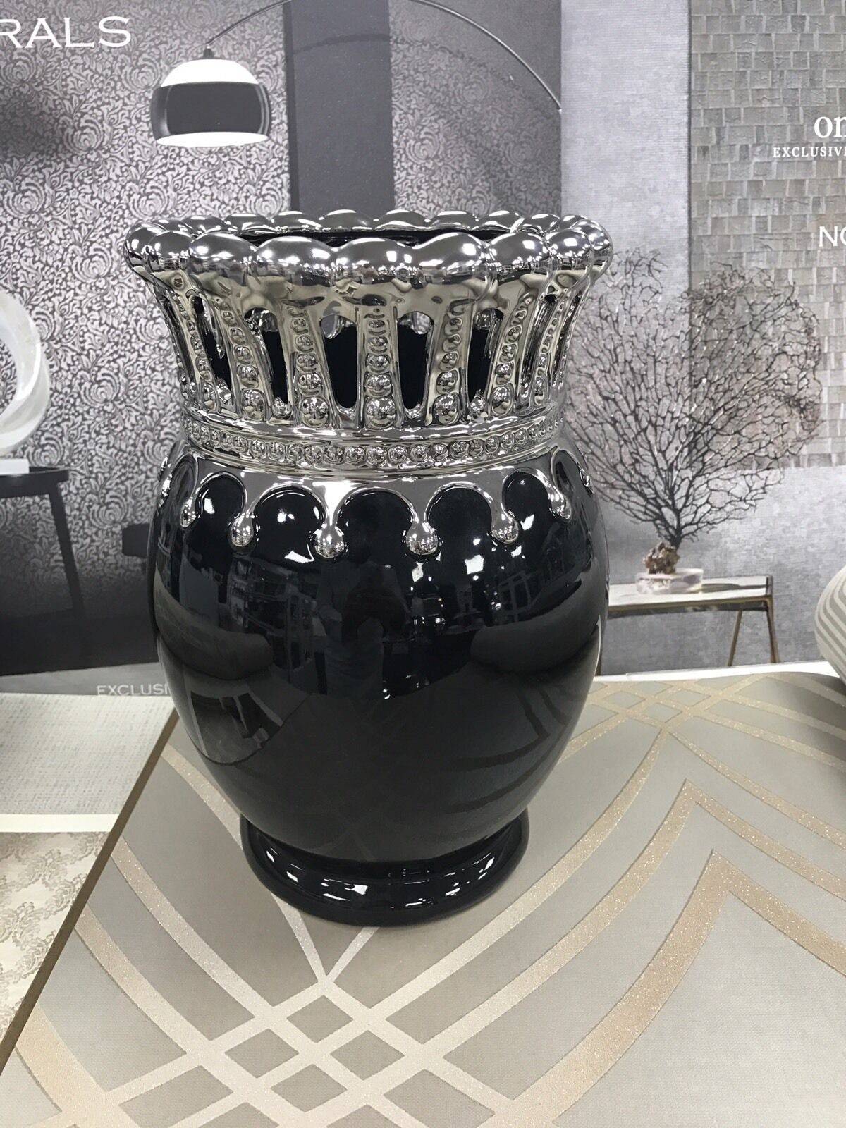 Black And Silver Art Deco Crown Textured Vase Home