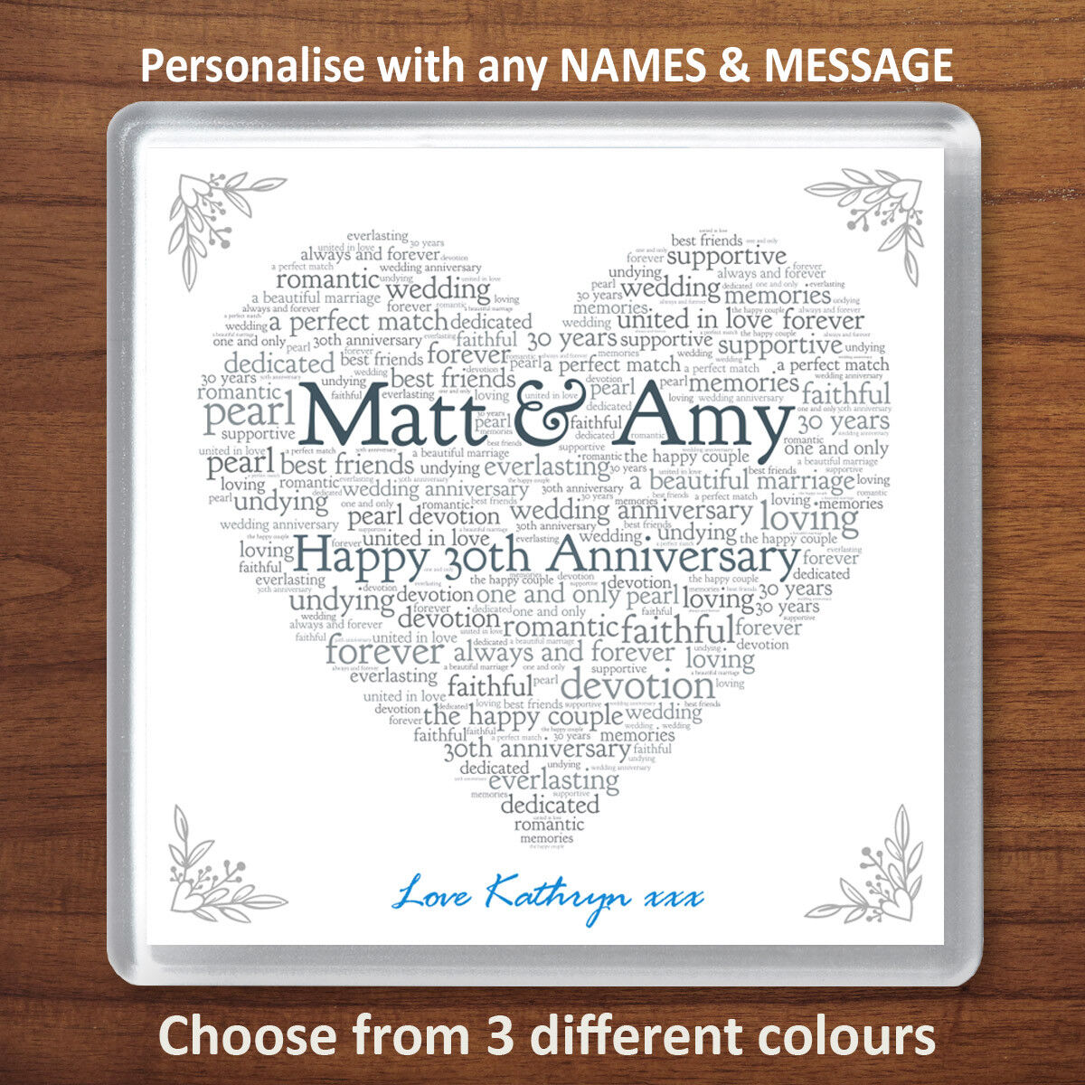 Personalised 30th Wedding Anniversary Gift Pearl Drinks Coaster