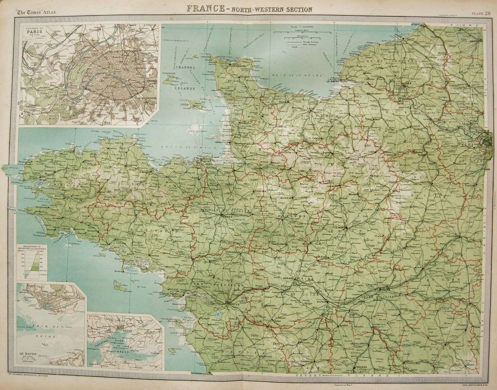 LARGE Map North Western France Environs Of Paris Le Havre - Large map of paris france
