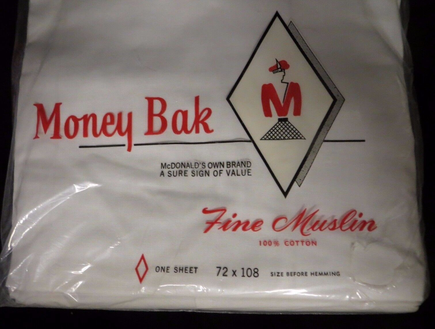 vintage money bak by mcdonald s twin size fine muslin flat sheet vintage money bak by mcdonald s twin size fine muslin flat sheet white nos