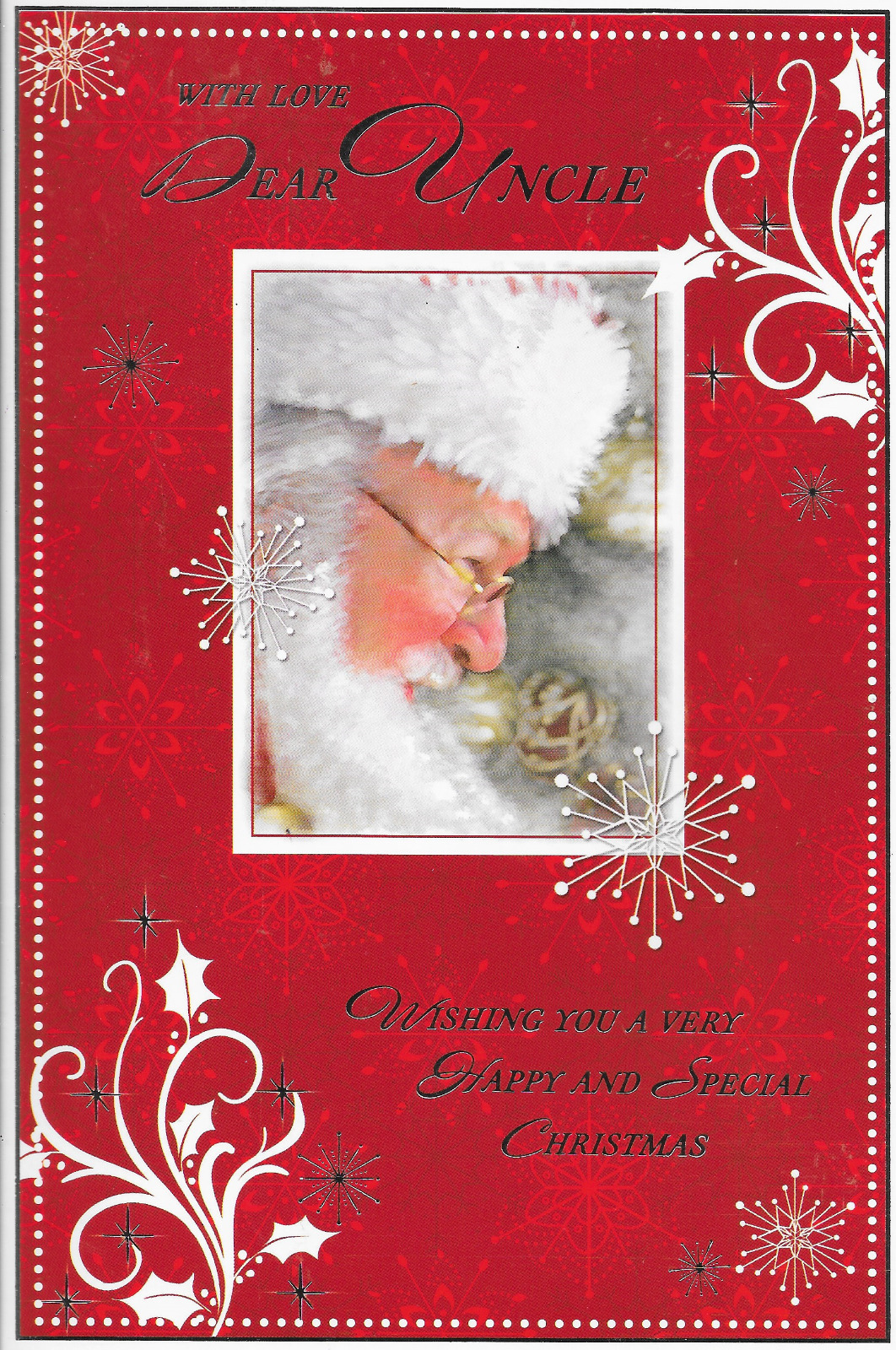 UNCLE CHRISTMAS CARD,TRADITIONAL Santa Theme,lovely Verse,9 X 6 ...