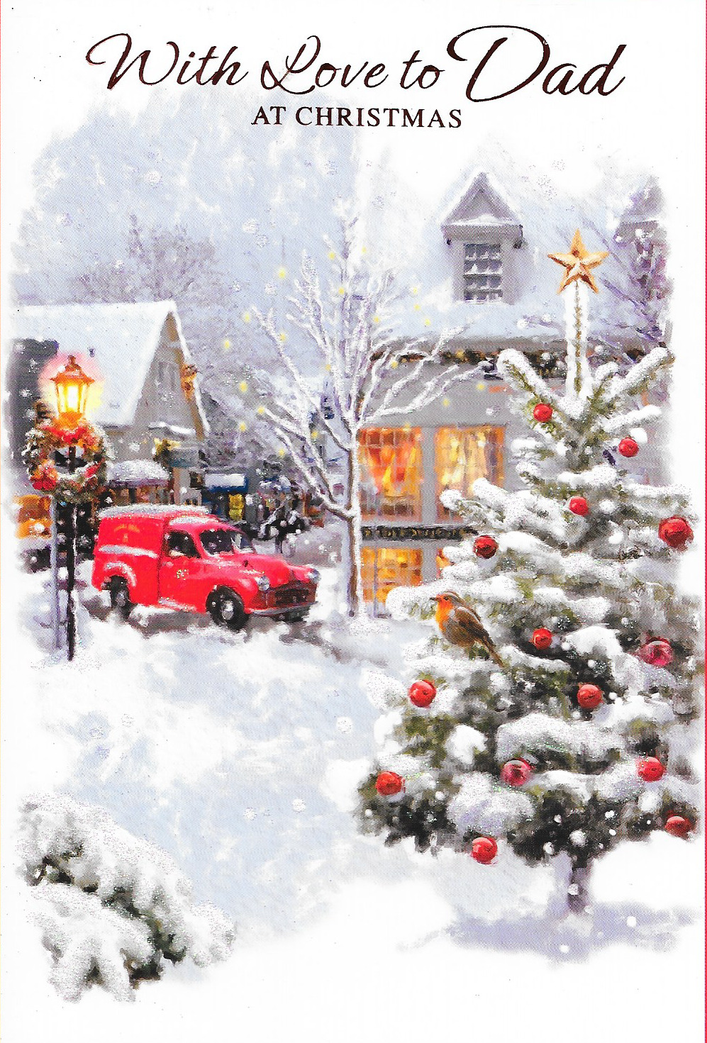 WITH LOVE Dad Christmas Card,traditional,red Van Theme,lovely Verse ...