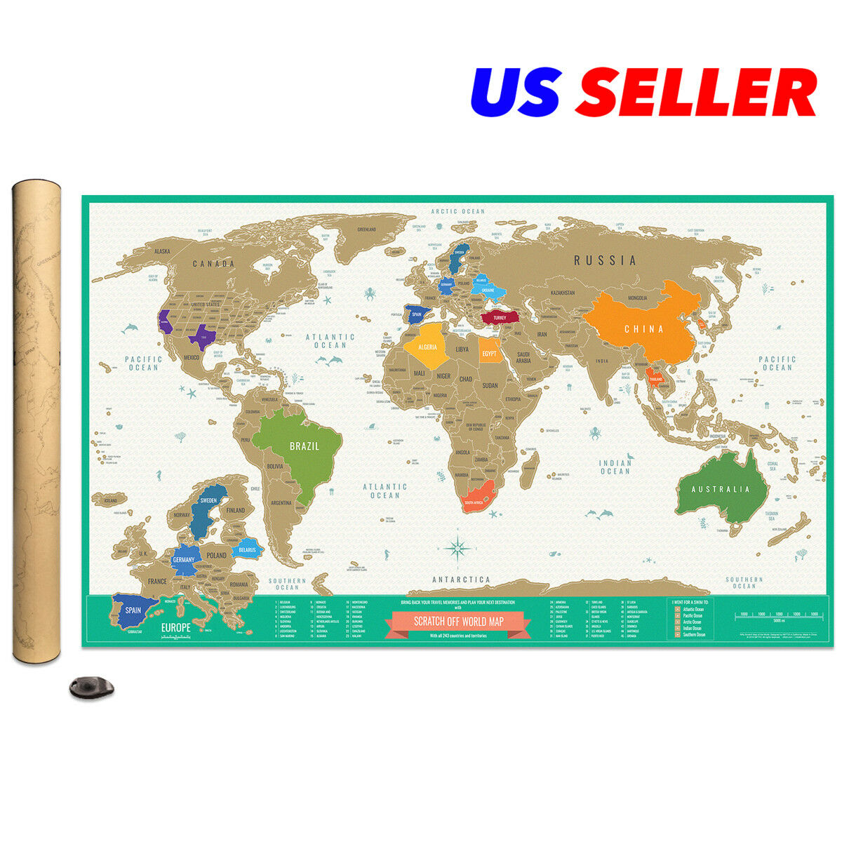 DELUXE SCRATCH OFF Travel Tracker World Map Detailed USA ...