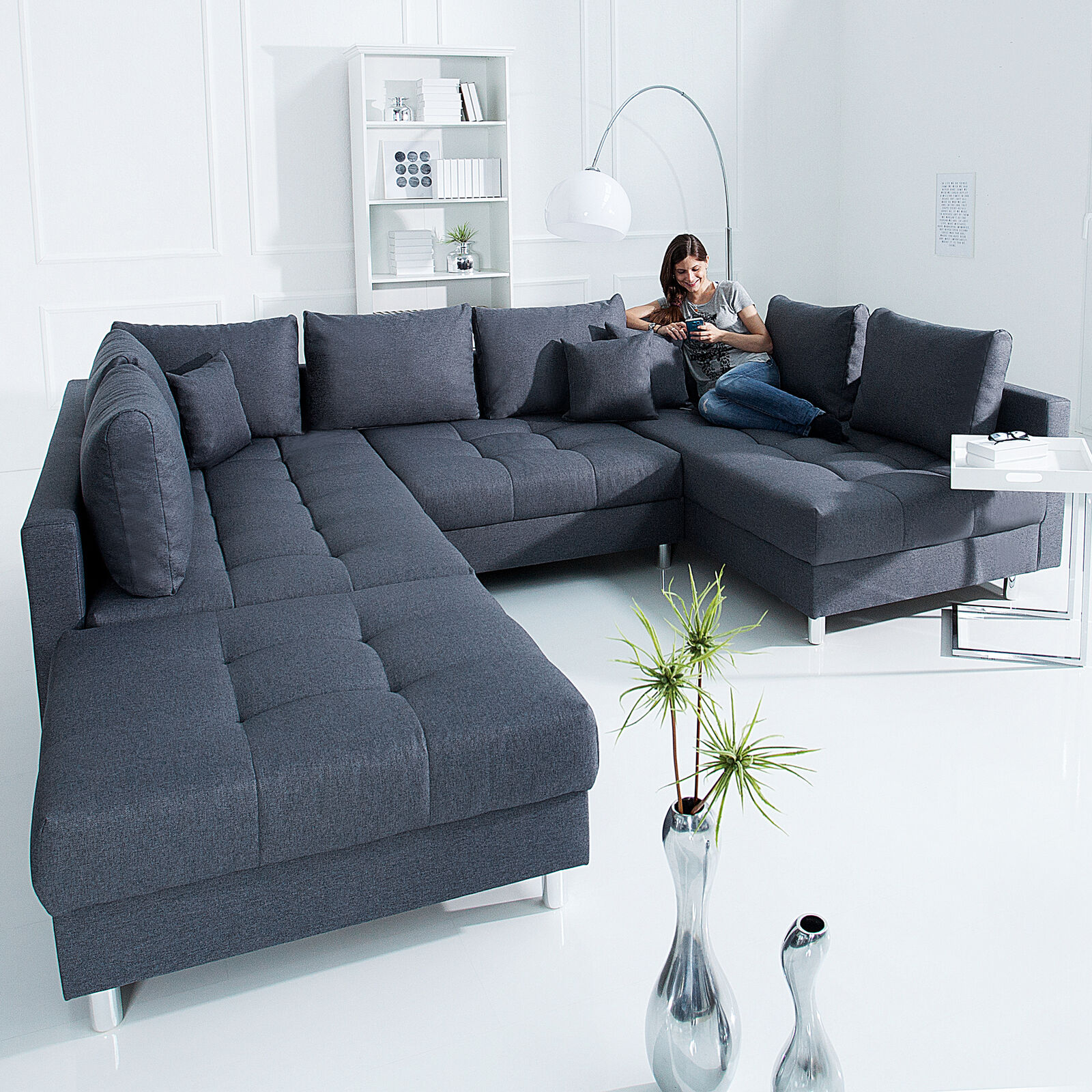 xxl wohnlandschaft kent 305cm anthrazit inkl hocker couch sofa u sofa eur 699 95 picclick de. Black Bedroom Furniture Sets. Home Design Ideas