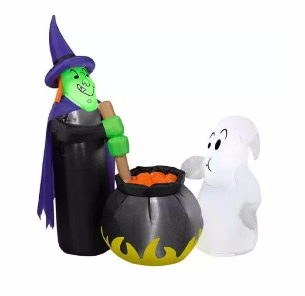 HALLOWEEN LIGHT UP AIRBLOWN Inflatable 4ft. Potion Tasting Witch ...