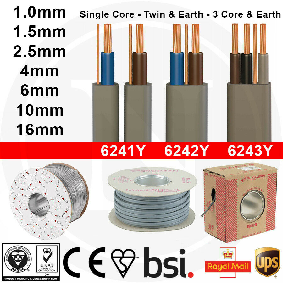 Twin And Earth Te Electric Cable Wire Lights Electrical Socket Wiring A Cooker Shower