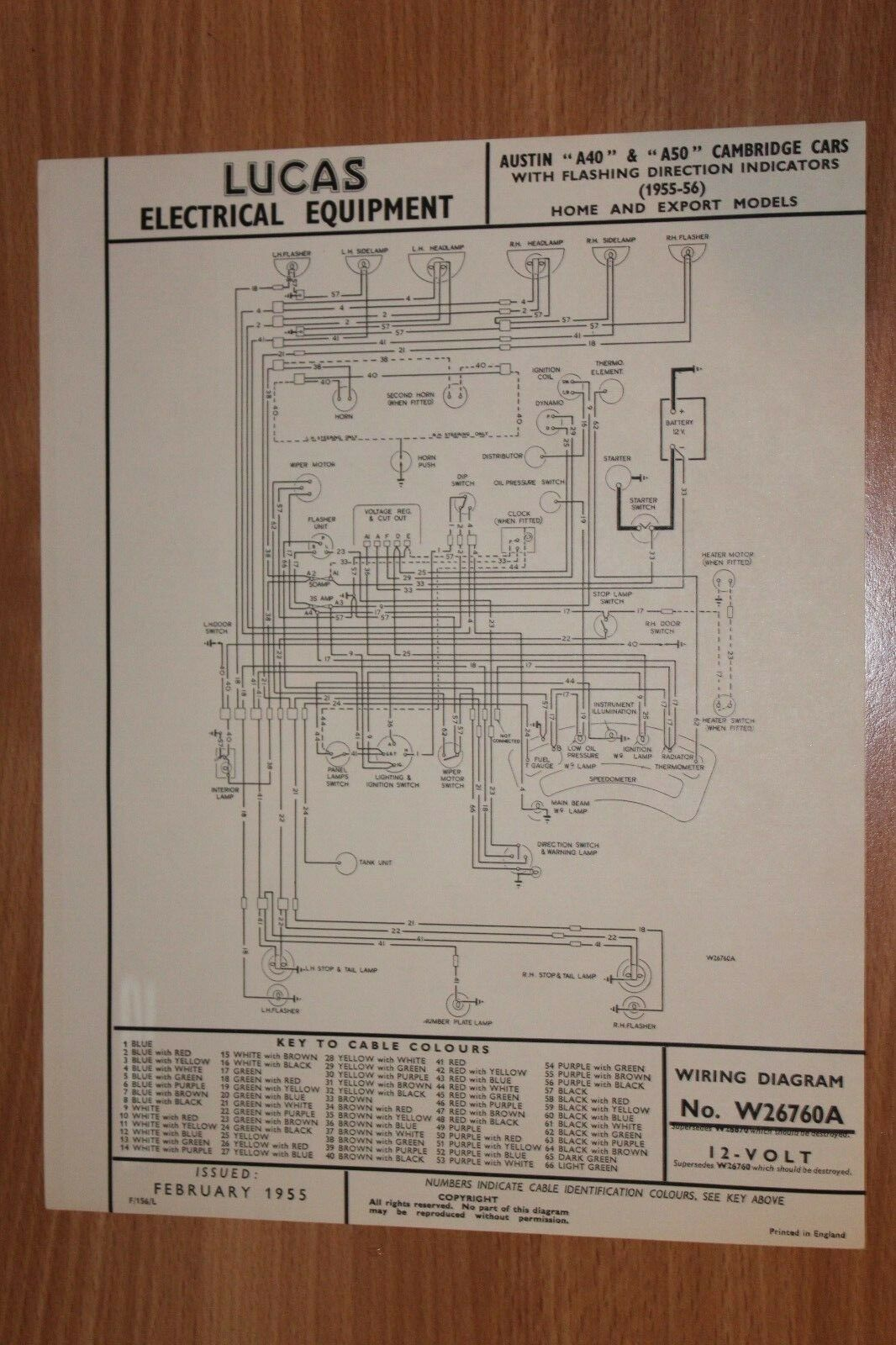 Austin A40 A50 Cambridge 1955 1956 Home Export Original Lucas Wiring Diagram  1 of 1Only 1 available See More