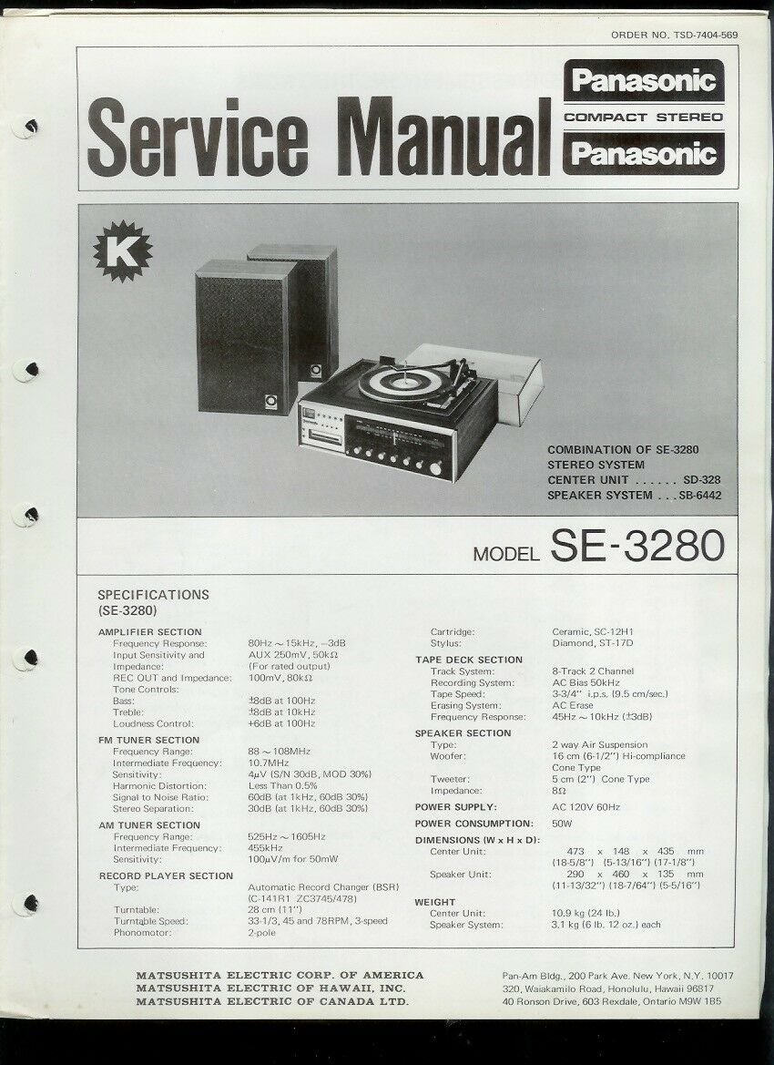 Panasonic SE-3280 AM FM Radio 8-Track Turntable Factory Service Manual 1 of  1Only 1 available ...