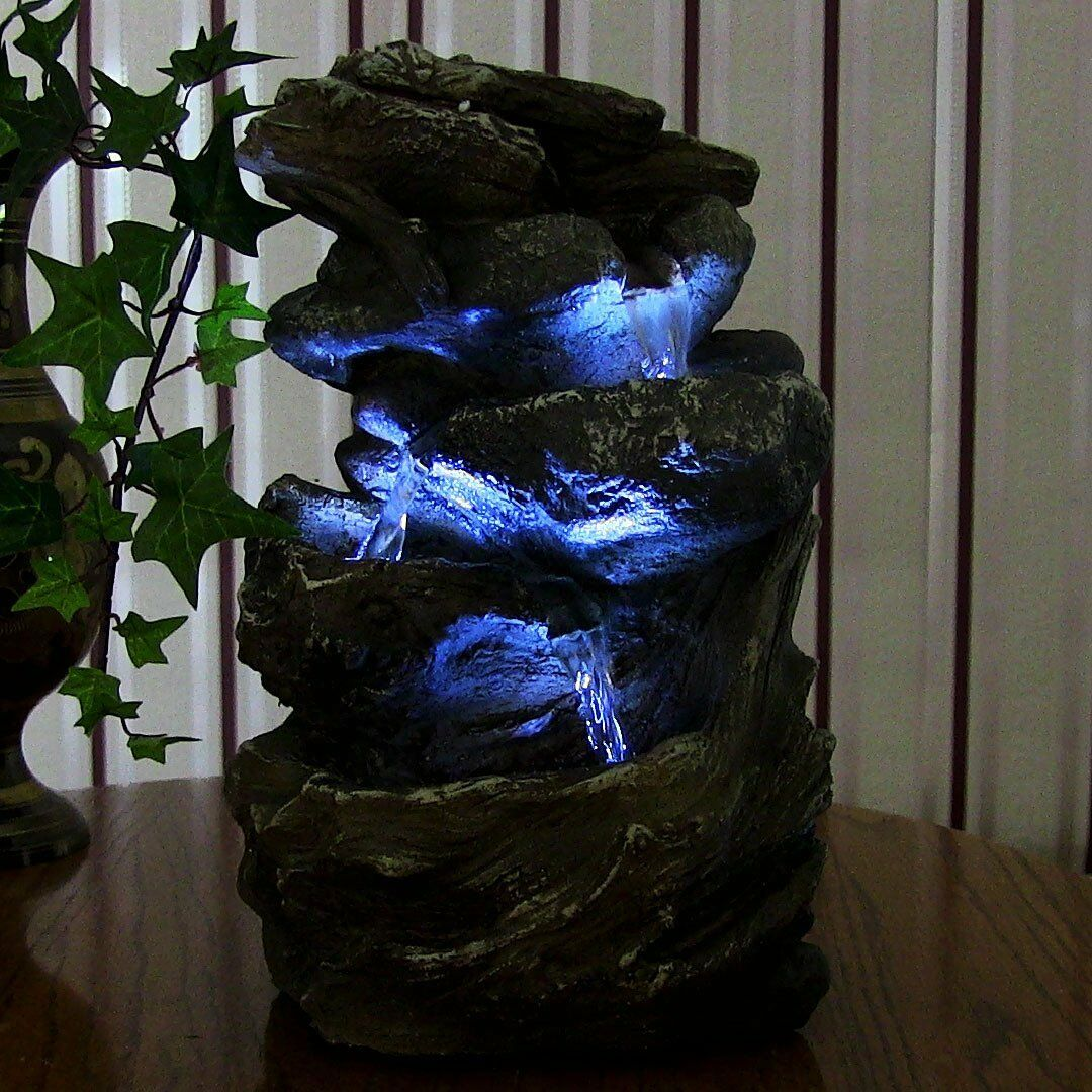 Indoor Water Fountain Tabletop Waterfall Led Light Zen Decor Table Small Rock 1 Of 12free Shipping