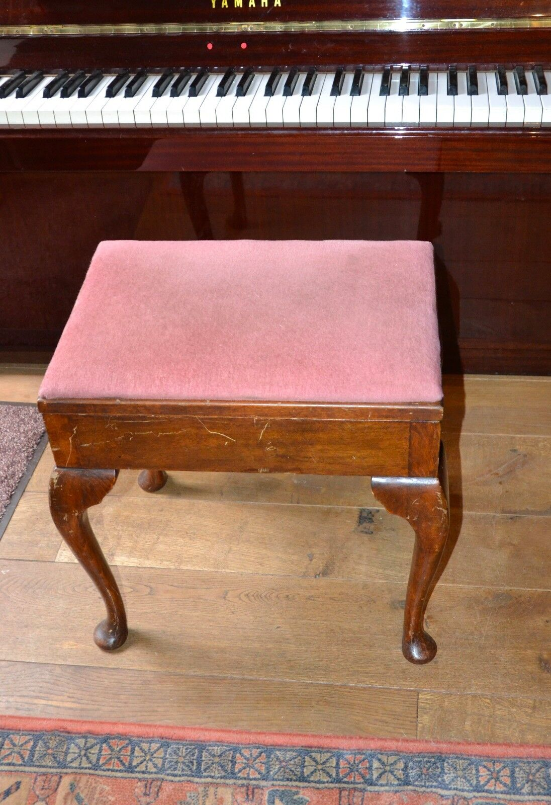 Vintage Solid Oak Piano Bench Velvet Padded Piano Stool Old Picclick Uk