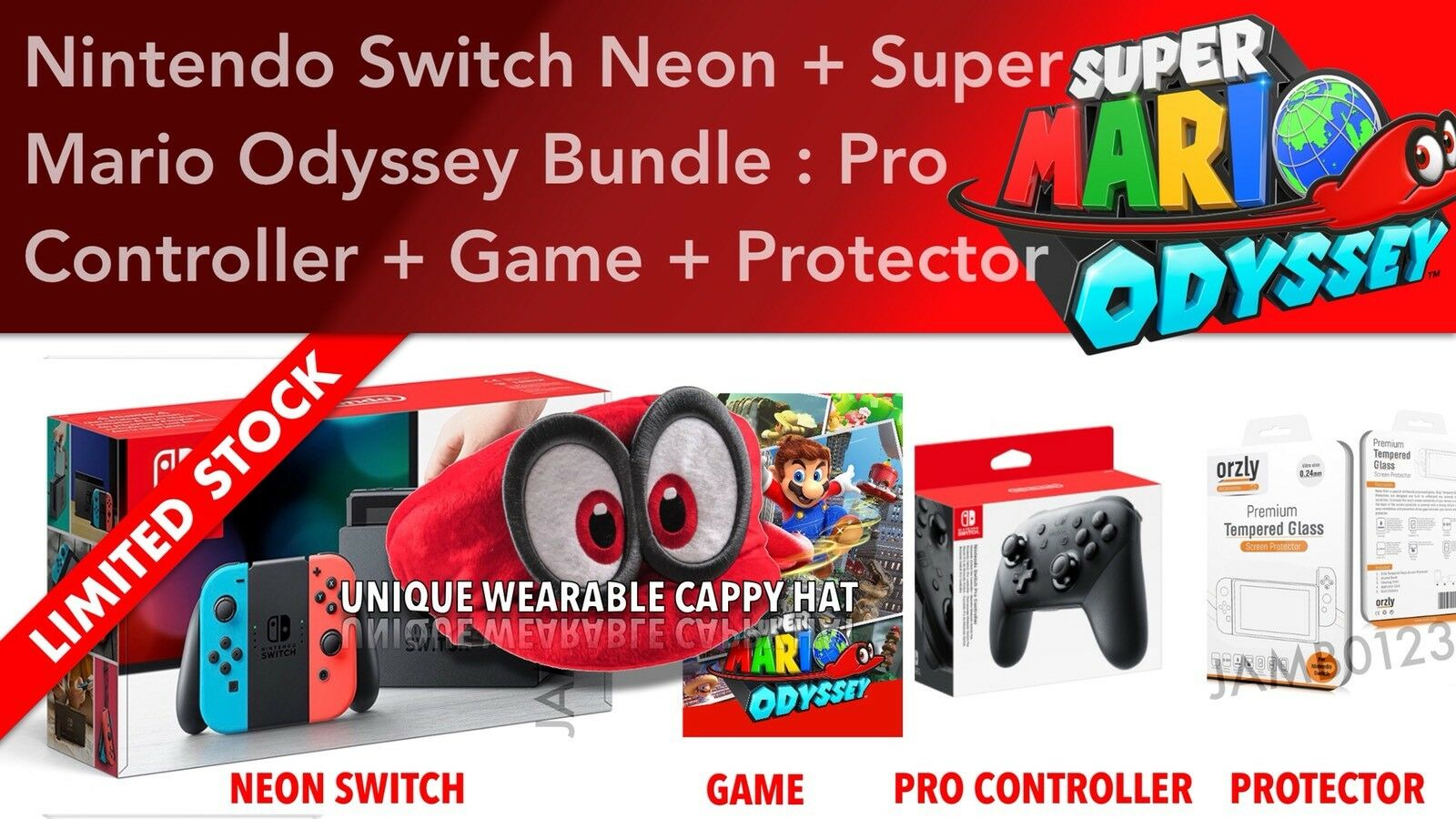 Nintendo Switch Console Super Mario Odyssey Pro Controller Cappy Grey Bundle 2game 2amiibo 1 Of 6only 2 Available