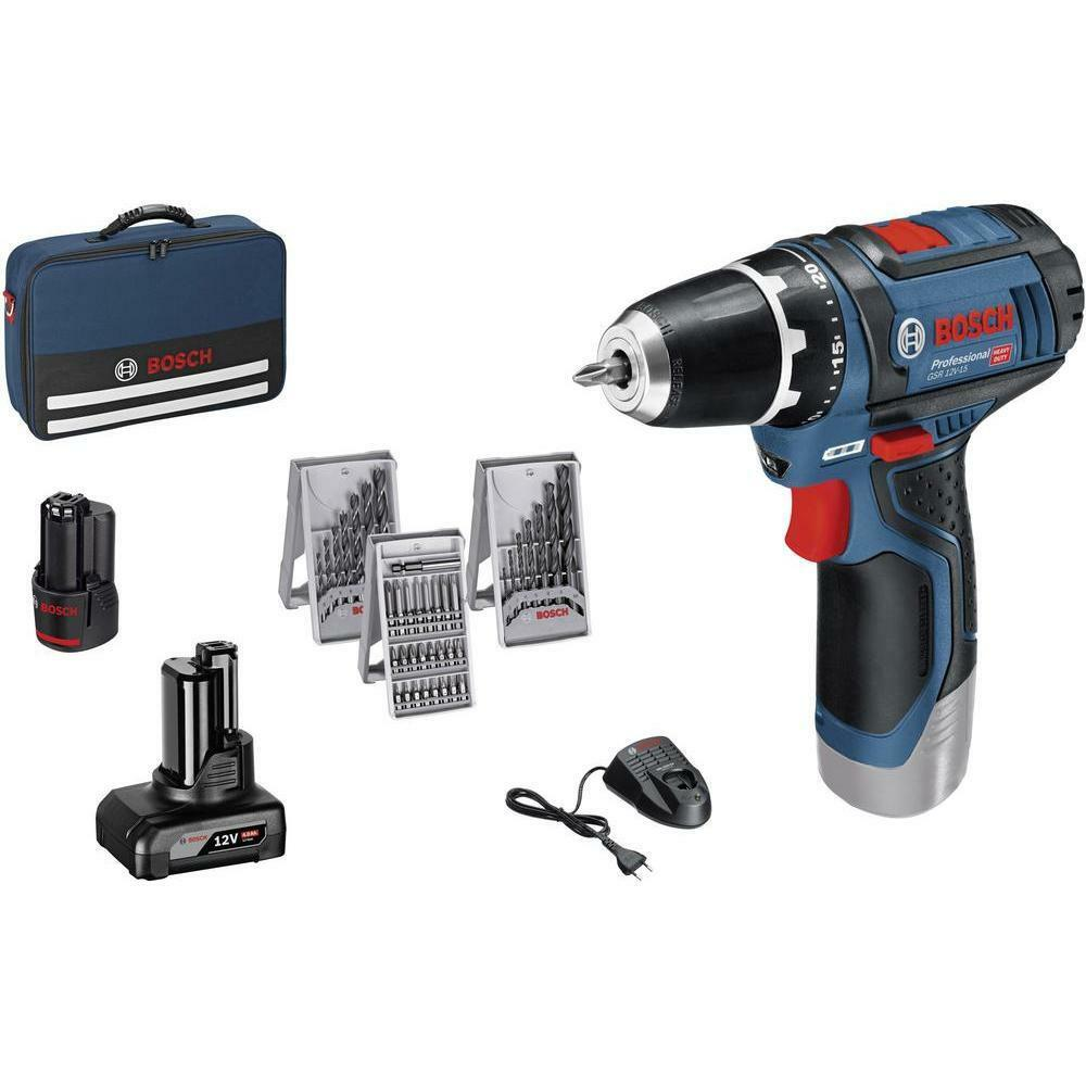 bosch professional gsr 12v 15 cordless drill 2 0ah 4 0ah. Black Bedroom Furniture Sets. Home Design Ideas