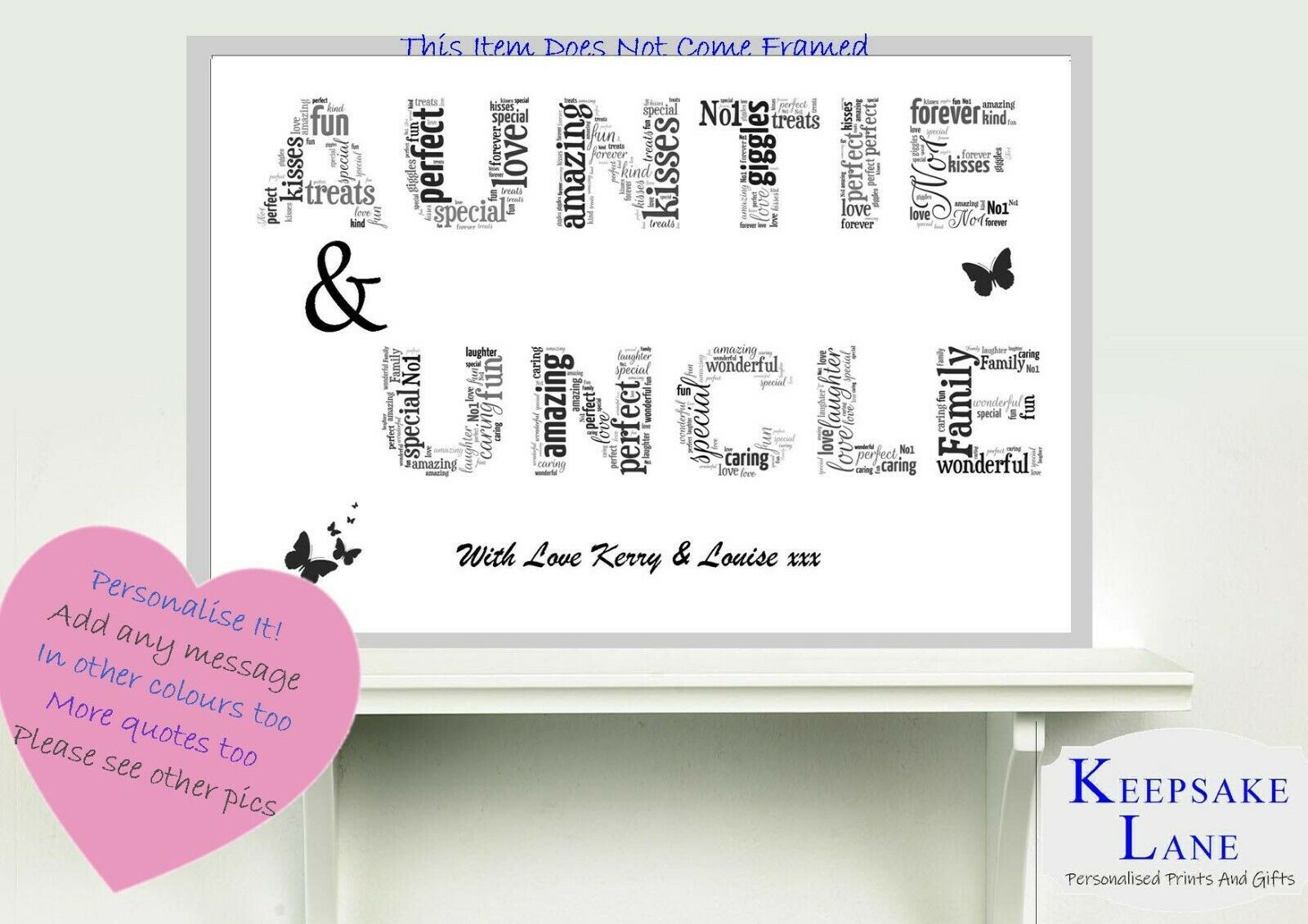 SISTER UNCLE AUNTIE AUNT Christmas Gift Birthday Personalised Word ...