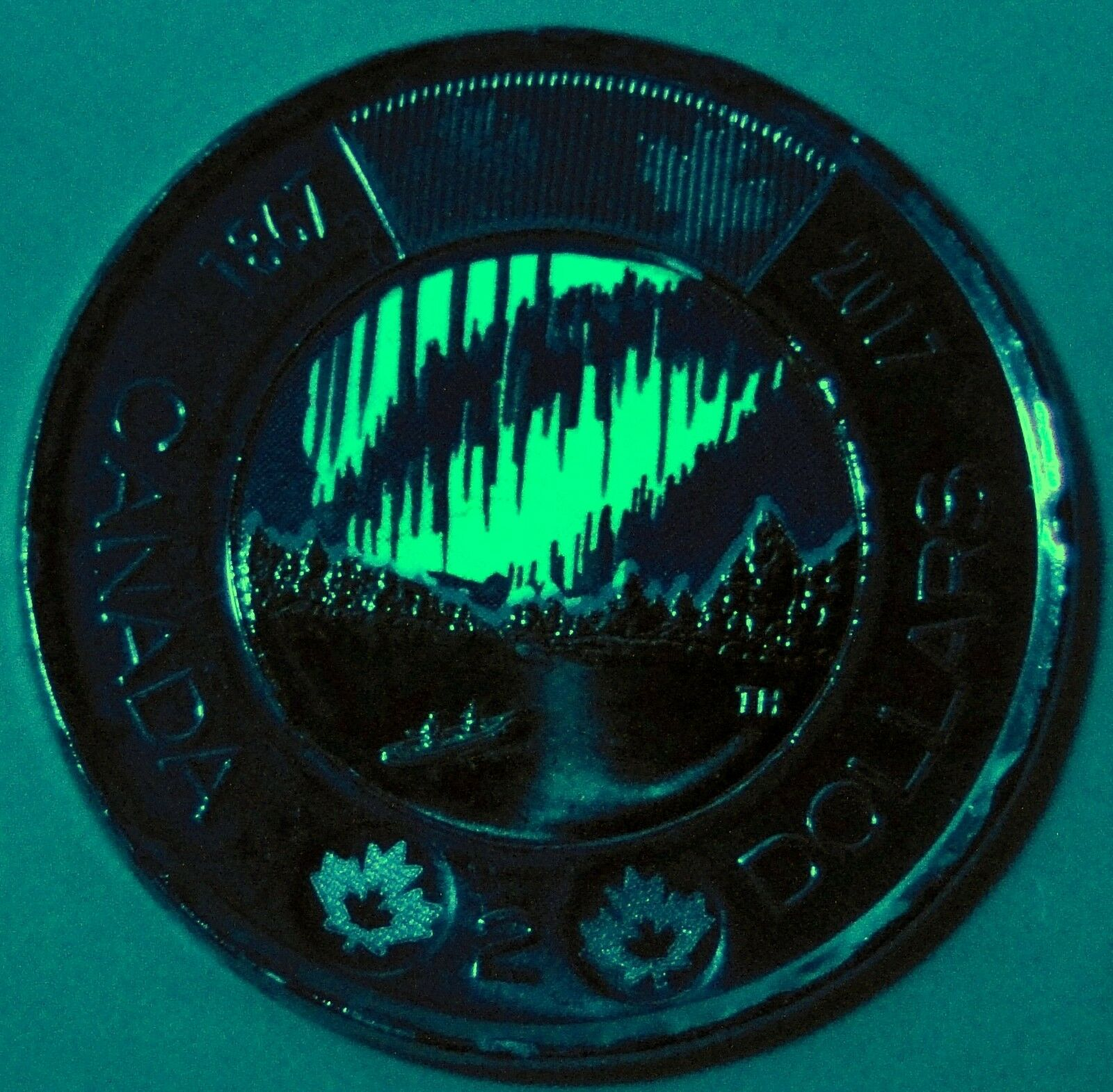 BU UNC Canada 1867-2017 150th glow-in-the-dark Dancing of spirits $2 toonie coin