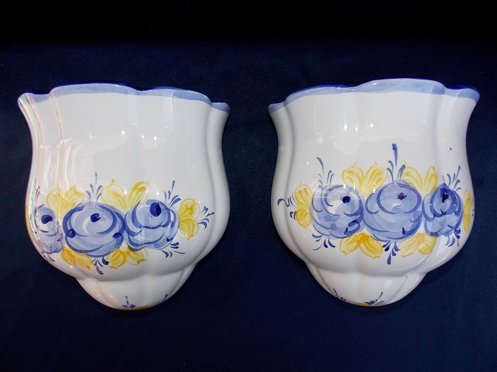 Pair hand paintedceramicwall pocketsvaseswhitebluevestal 1 of 11 see more reviewsmspy