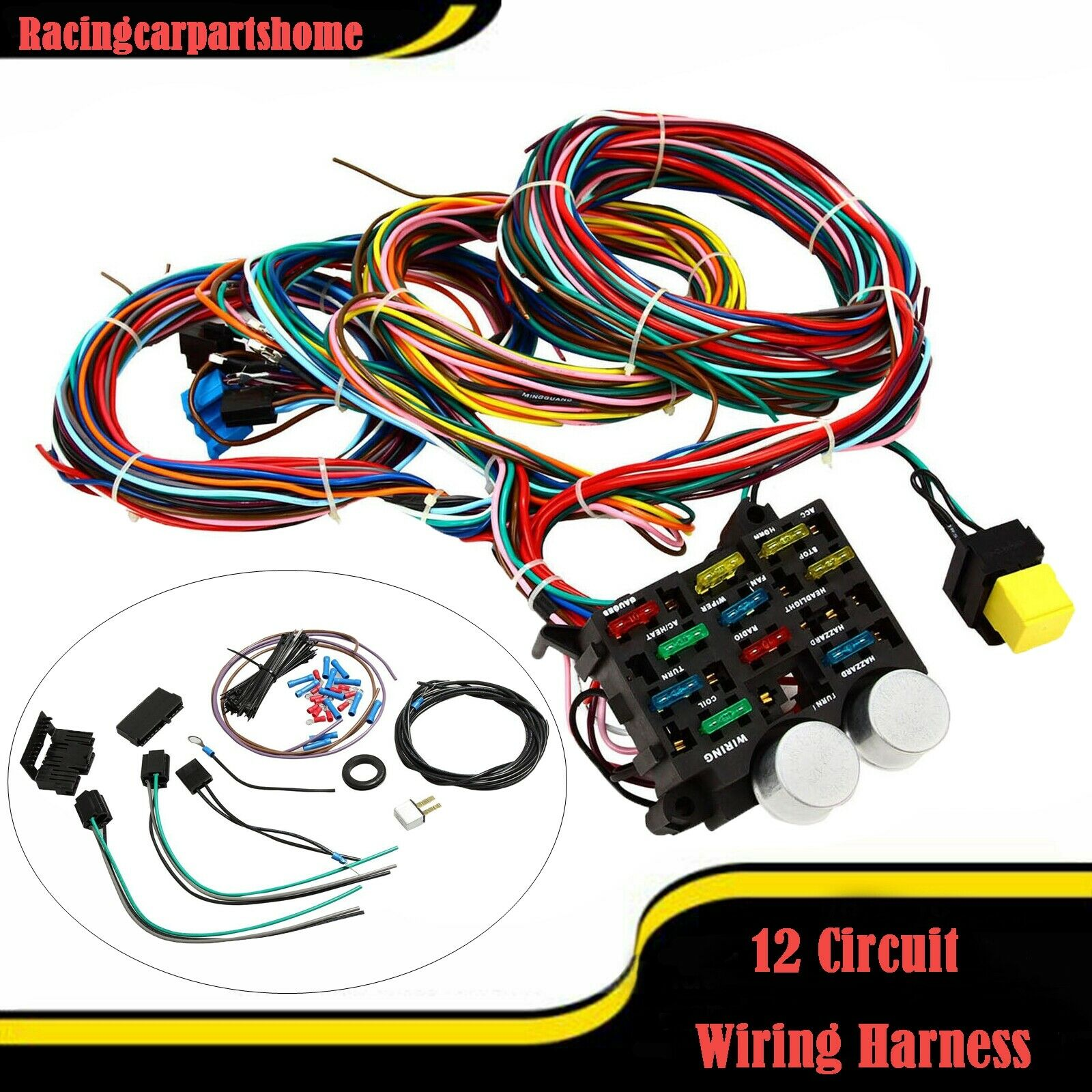 universal wire 12 circuit hot rod wiring harness for chevy mopar rh picclick com street rod wiring harness diagram Street Rod Wiring Harness Kit