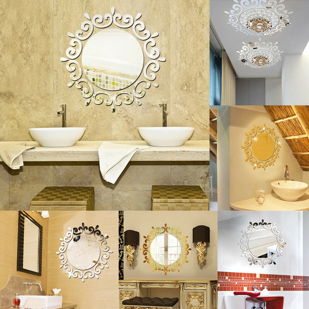 3D Feather Mirror Wall Sticker Home Decoration Room Decal Mural Art ...