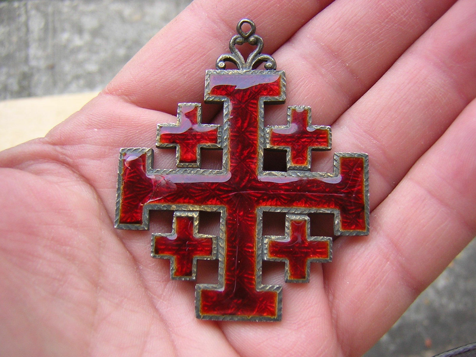 jerusalem blue crusader pendant pin cross silver large ornate gems vintage sterling