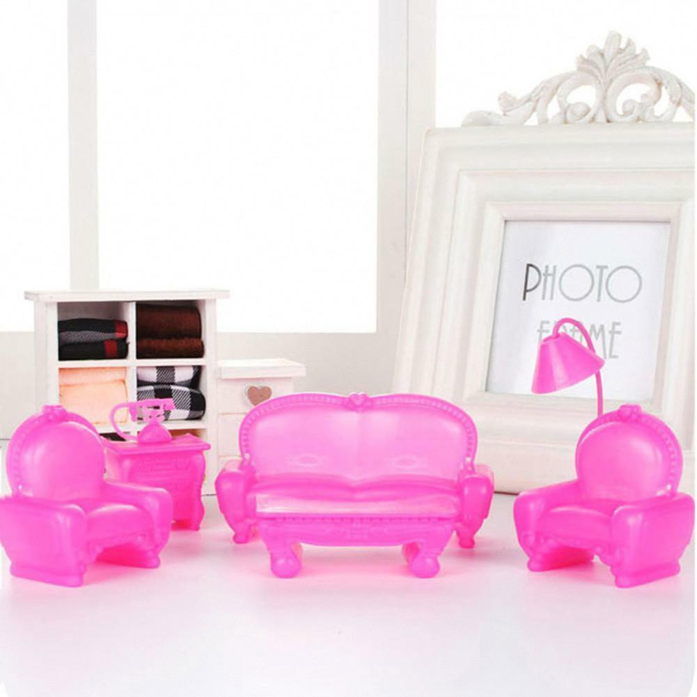 7x set barbie doll house furniture living room sofa chair for Barbie living room furniture set