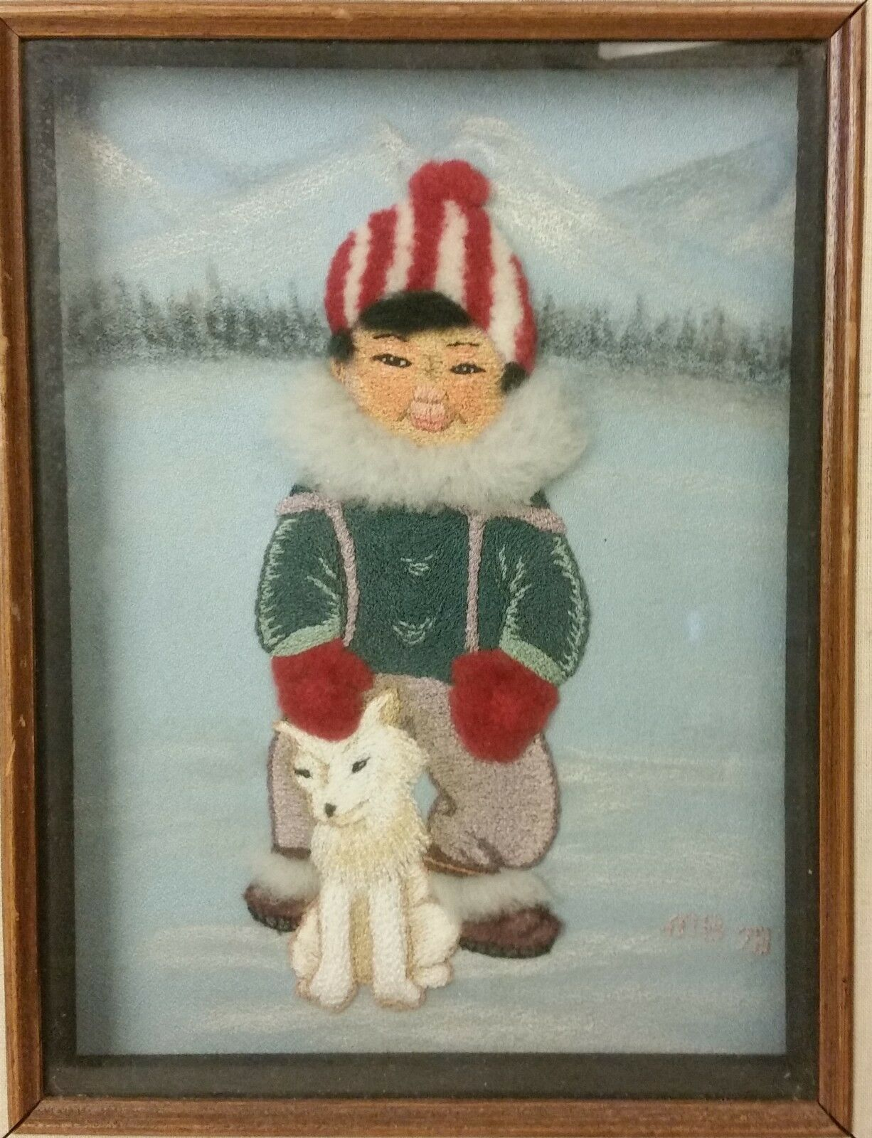 FABRIC ART signed MB dated 78 Inuit Boy & Dog Frame 16\