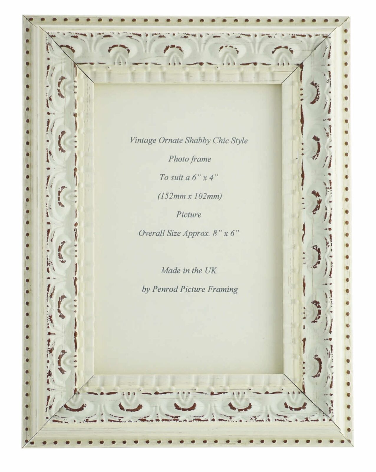 HANDMADE ORNATE DISTRESSED soft white shabby chic vintage Picture ...