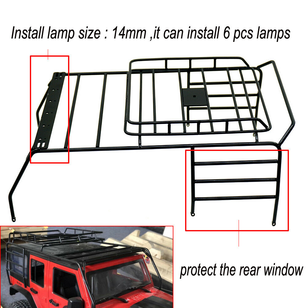 110 Rc Crawler Metal Roof Luggage Rack For Axial Scx10 Jeep 313mm Install Rear Window 1 Of 9 See More