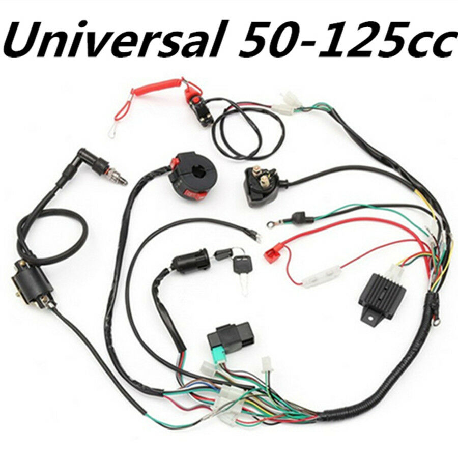 Ignition Wiring Harness Kit Solenoid Rectifier Cdi 50 125cc Atv Pit 1 Of 12free Shipping