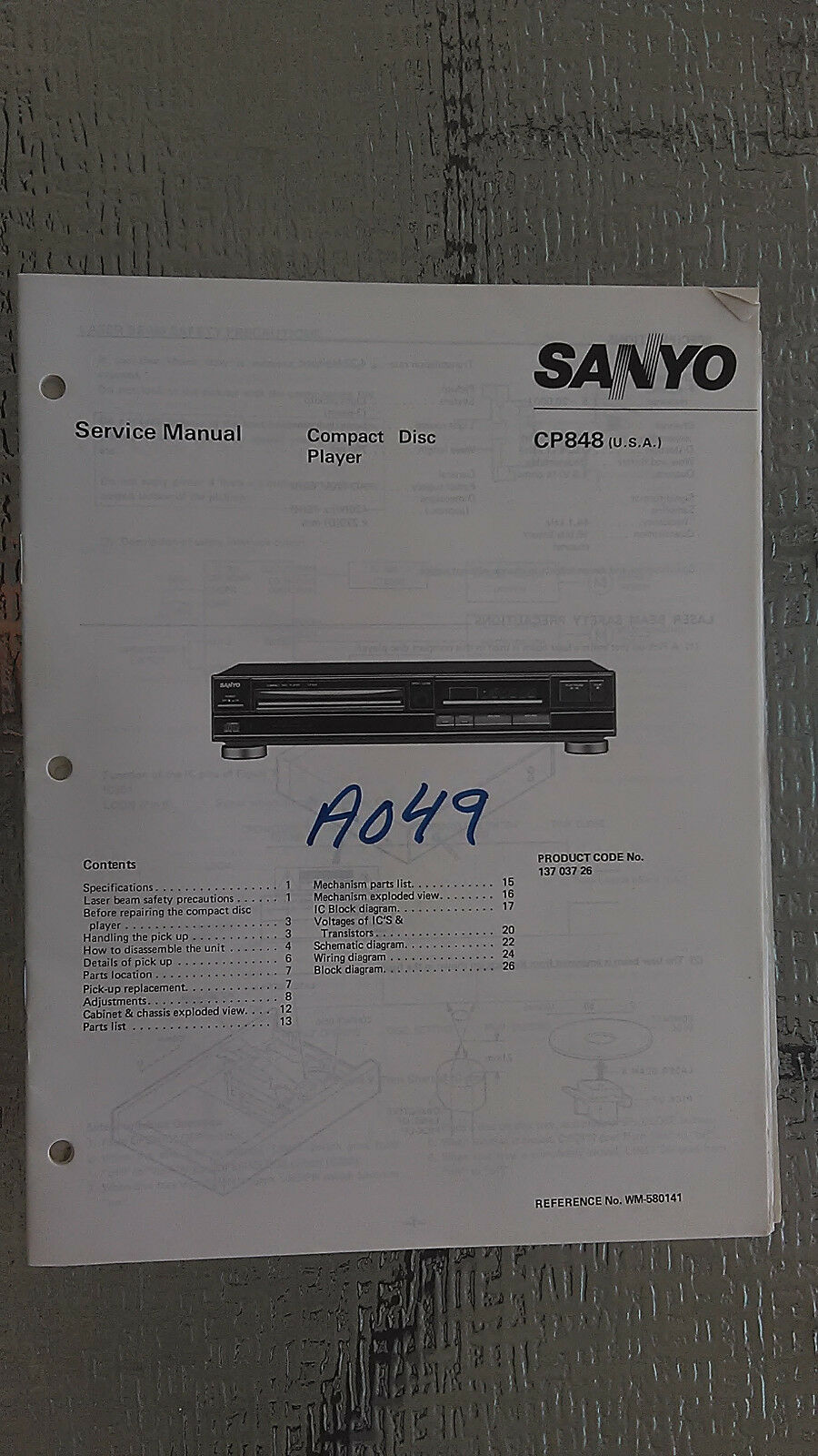 Sanyo Car Stereo Wiring Diagram Diagrams Data Base Cd Player Parts Electrical Rh Wiringforall Today On Speaker For Cp848 Service Manual Original