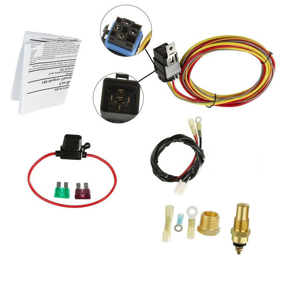 Car Electric Cooling Fan Wiring Harness Kit 185 On 165 Off Thermostat 40a Relay 1 Of 12free Shipping