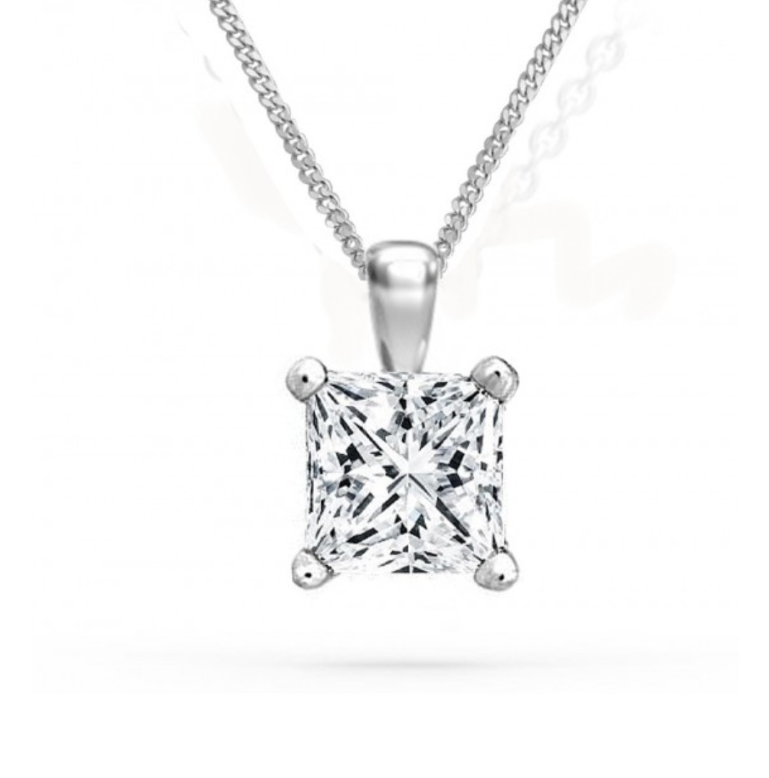 1 ct princess cut diamond pendant with chain solitaire necklace 14k 1 ct princess cut diamond pendant with chain solitaire necklace 14k white gold 1 of 4only 3 available see more aloadofball Image collections