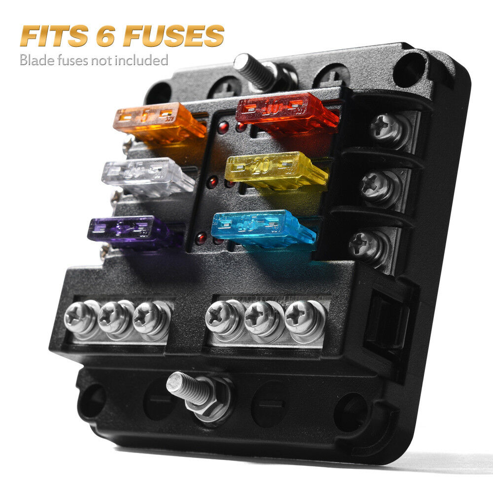 6 Circuit Led Illuminated Automotive Blade Fuse Holder Box 150 Amp Block W Negative 1 Of 11free Shipping See More
