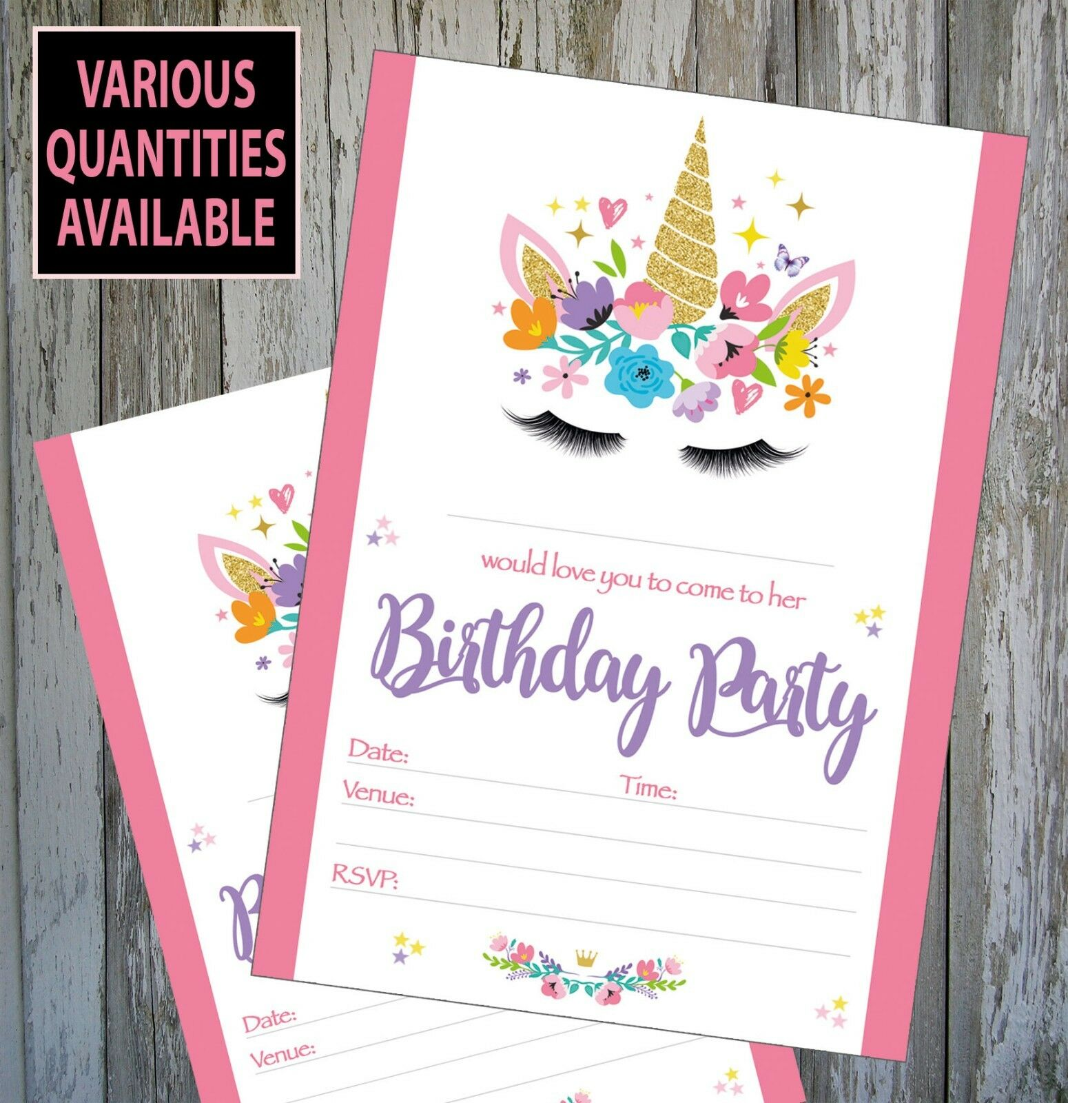 UNICORN BIRTHDAY PARTY Invitations Invites, Child, Kids, With ...