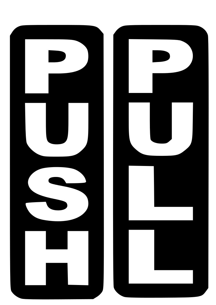 Push Pull Vinyl Stickers Decal Signs For Door Glass Window 1 Of 1free