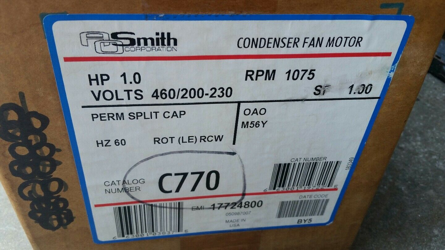 AO SMITH C770 Condenser Fan Electric Motor 1 HP, 1075 RPM * New In ...