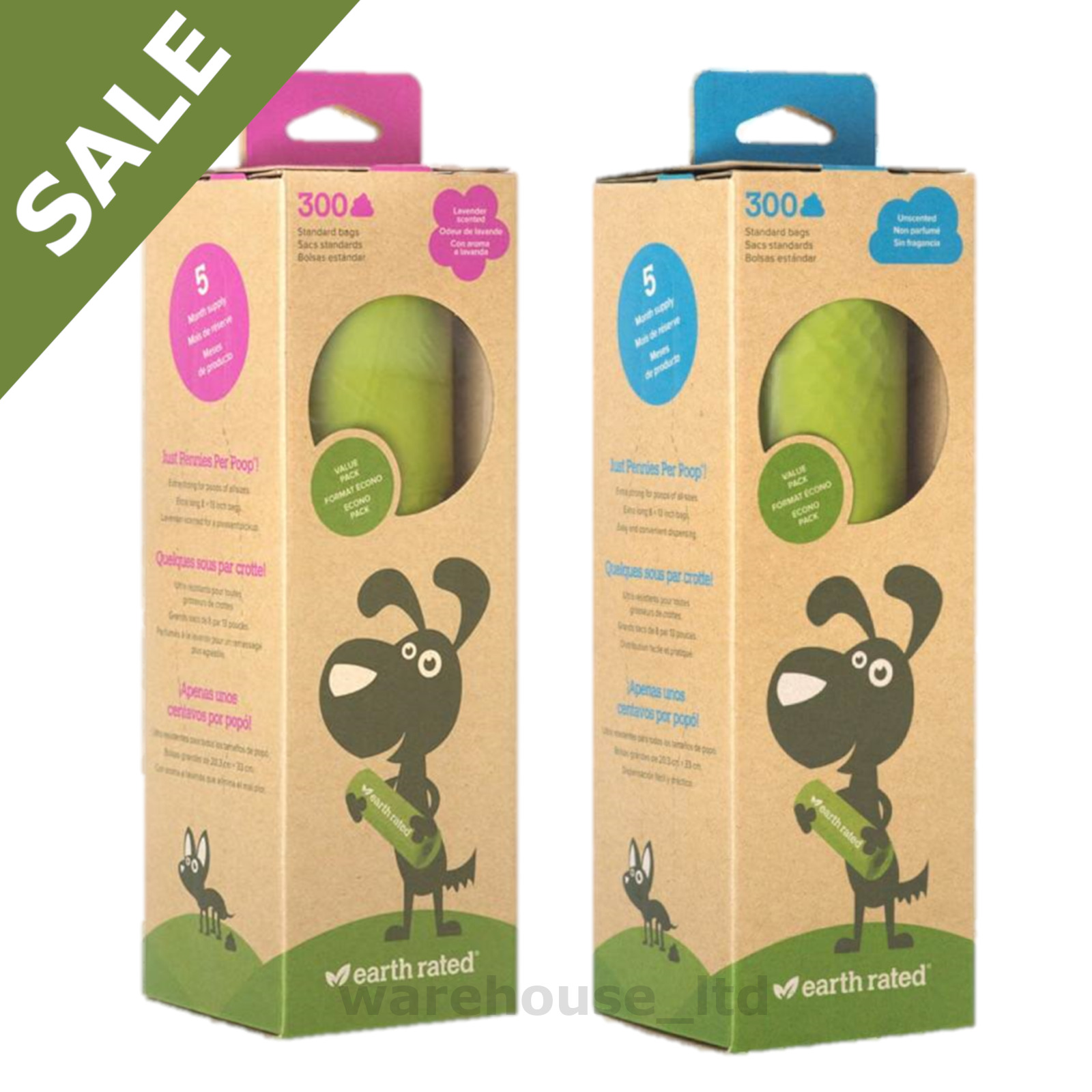300 X Earth Rated Biodegradable Dog Waste Bags Lavender Scented Poo 1 Of 3 See More