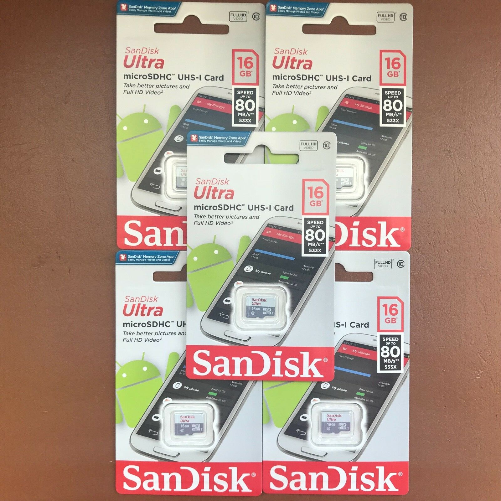 New Sandisk 16gb Micro Sd Ultra Sdhc Memory Card 80mb S Uhs I Class 48 Mb 1 10 Sdsqunb Of 3free Shipping