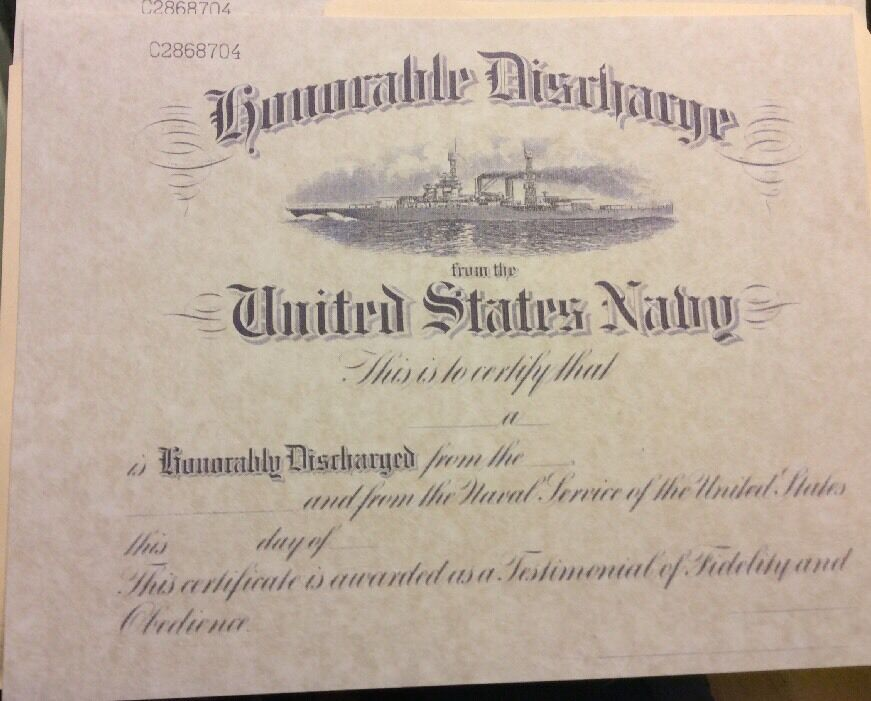 Us Navy Honorable Discharge Certificate Comes Blank 699