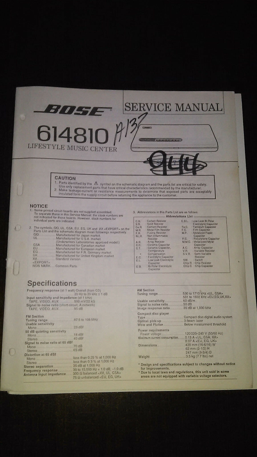 Bose Lifestyle Series Model 614810 Cd Service Manual Original Repair 235 Home Theater Wiring Diagram For 1 Of 1free Shipping