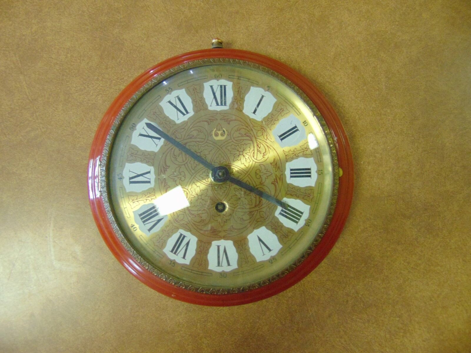 Vintage Wind Up Wall Clock Metal Dome Gl Over Red Burnt Orange