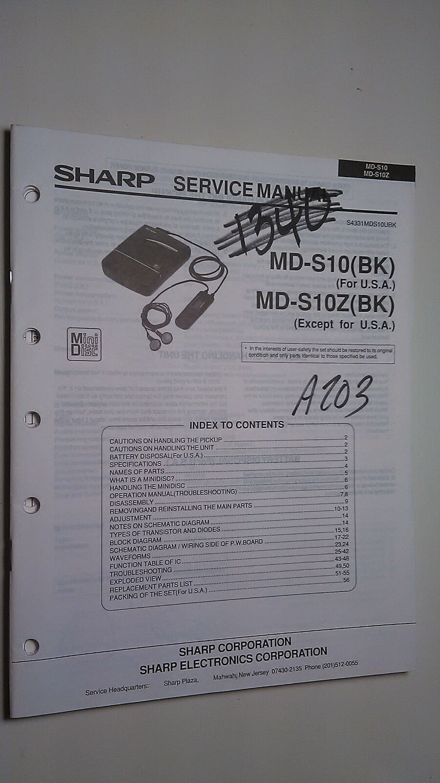 Sharp md-s10 z service manual original repair book stereo minidisk player 1  of 1FREE Shipping ...